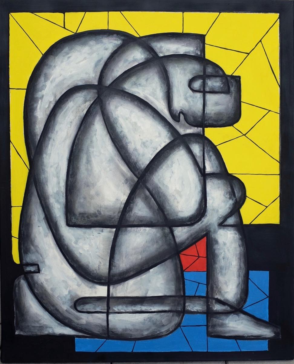 L'homme qui pleure - 120 cm x 105 cm - Série de la ligne unique - Gouache, acrylique et encre sur toile.